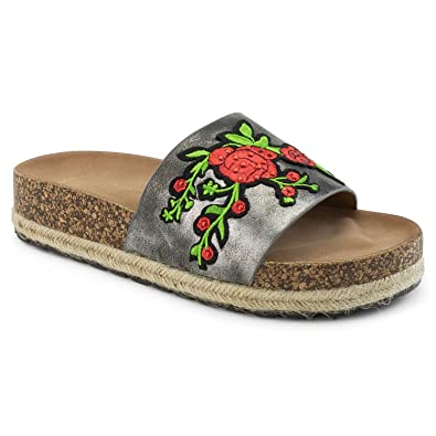 23ae7b2e24e RF ROOM OF FASHION Women s Embroidered Rose Wide Band Espadrille Footbed  Sandals Pewter Size.10