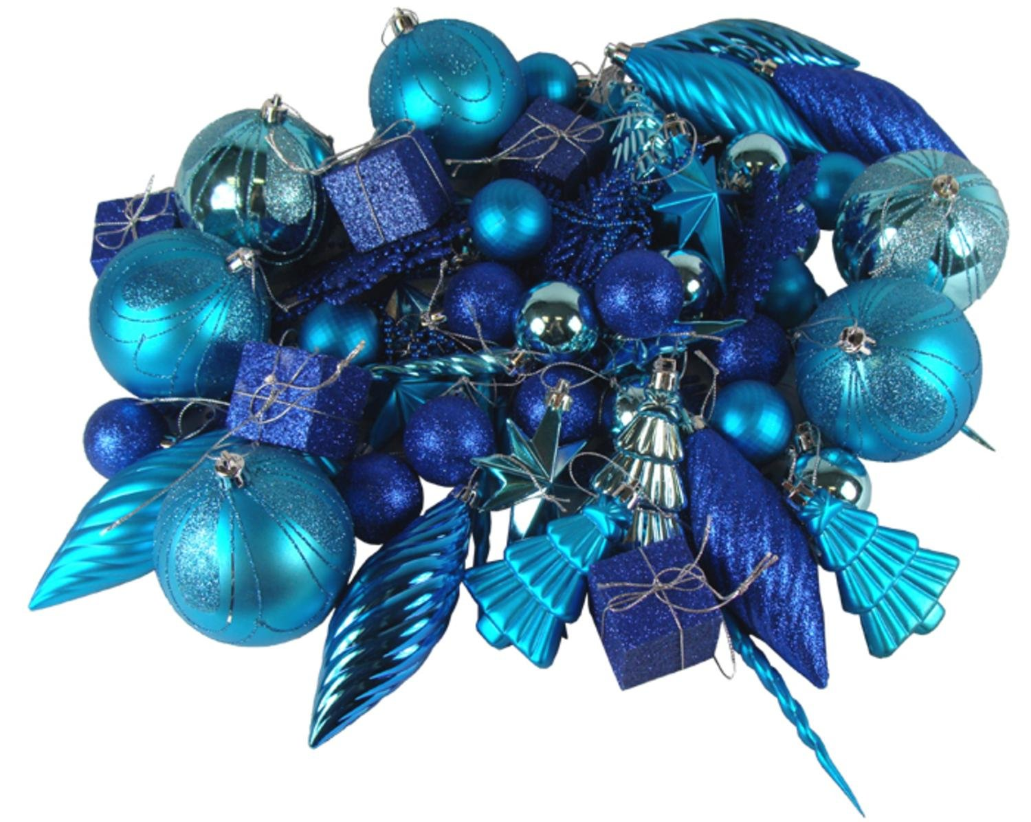 Northlight 125-Piece Club Pack of Shatterproof Regal Peacock Blue Christmas Ornaments by Northlight
