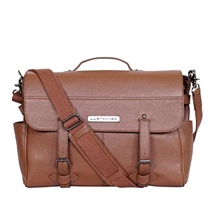 dd9903a4e7 JUSTANNED Leather 40.64 cms Tan Messenger Bag (JTMB377-3)  Amazon.in  Bags