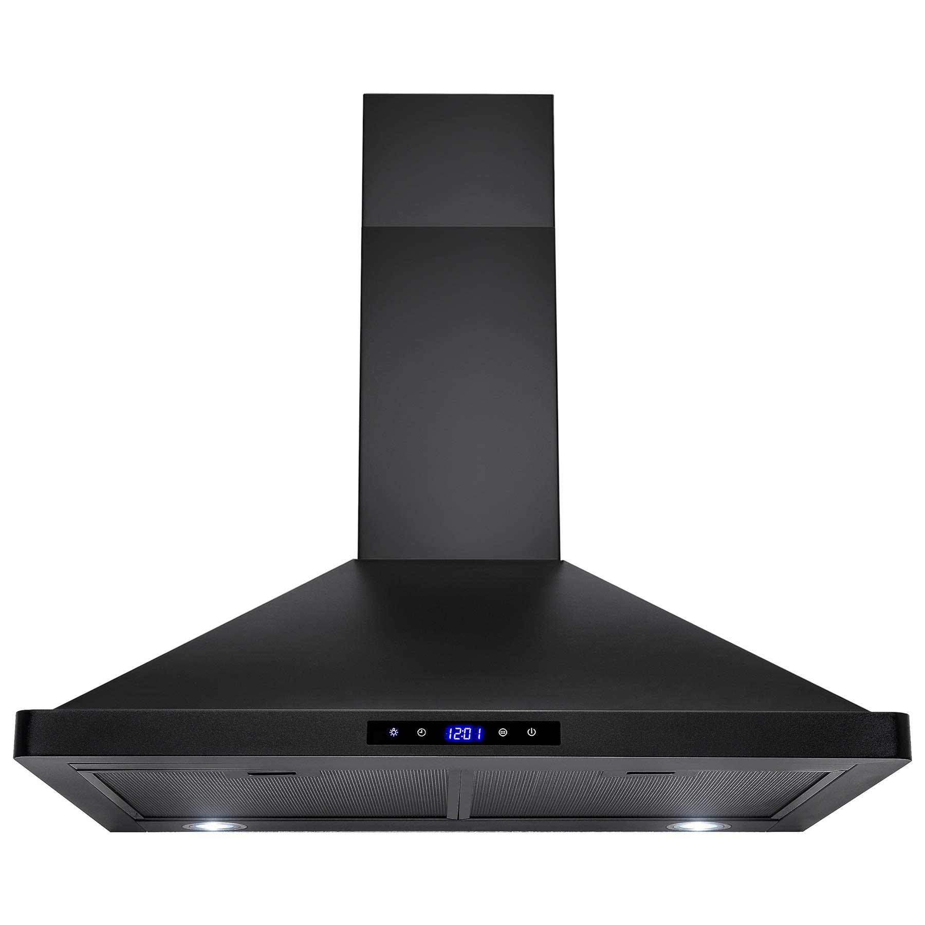 AKDY Convertible Kitchen Wall Mount Range Hood in Black Painted Stainless Steel with Lights (30 in.) by AKDY