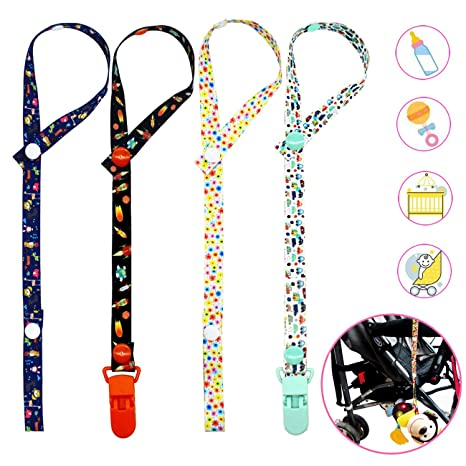 Baby Toys Clip 4 Pack Baby Toy Pacifier Dummy Clip New Sippy Pal Baby Bottle Strap Clip Hanger for Stroller Pram