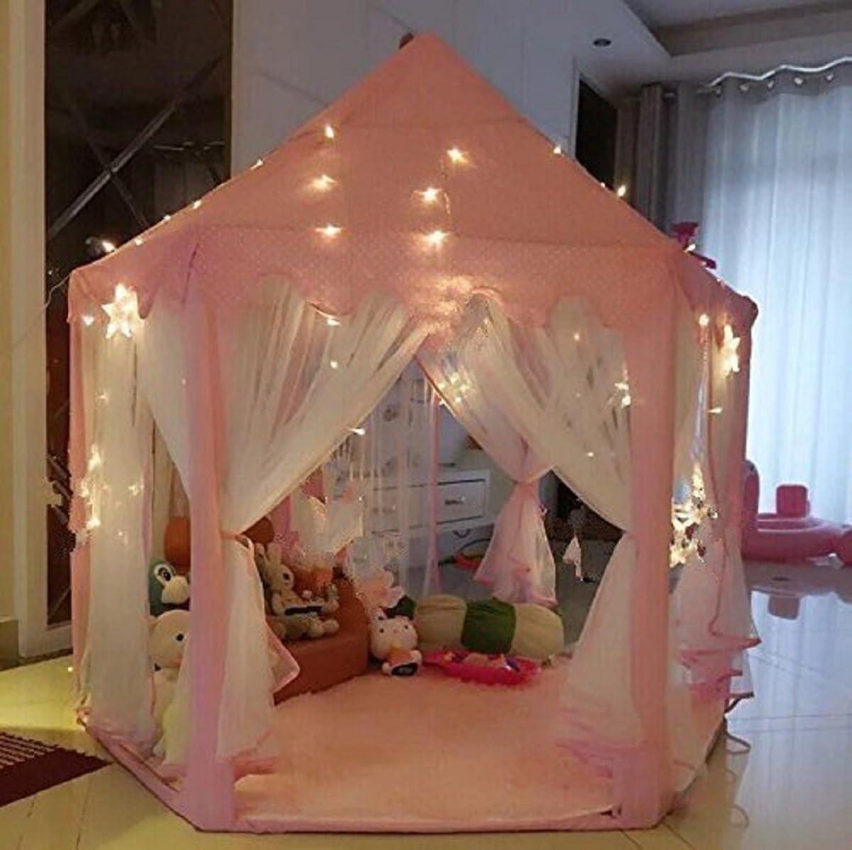 UniqueVC Tienda de Campaña Princesa para Niños, Casas y Tiendas para Niña con se Proporcionaron Las Luces pequeño LED en Interior y Exterior - Bolas y Manta no Incluidas