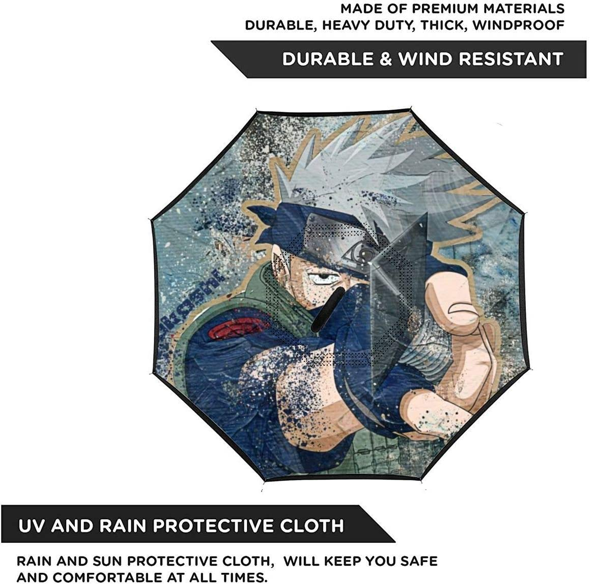Windproof And Rainproof Double Folding Inverted Umbrella Naruto Hatake Kakashi Anime Car Reverse Umbrella With C-Shaped Handle UV Protection Inverted Folding Umbrellas