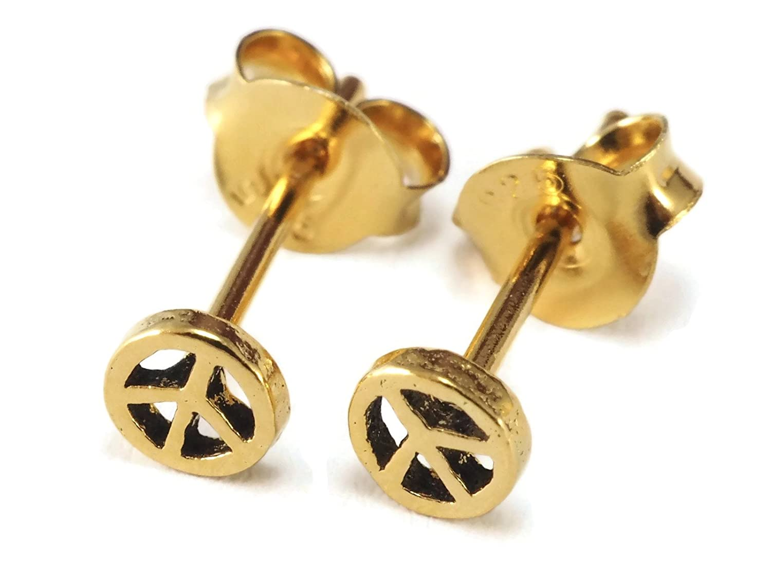 0.8mm 1 Pair 20 gauge Silver Earring Cartilage Women Girl Men Minimal Stud Very Tiny Peace Sign 4mm
