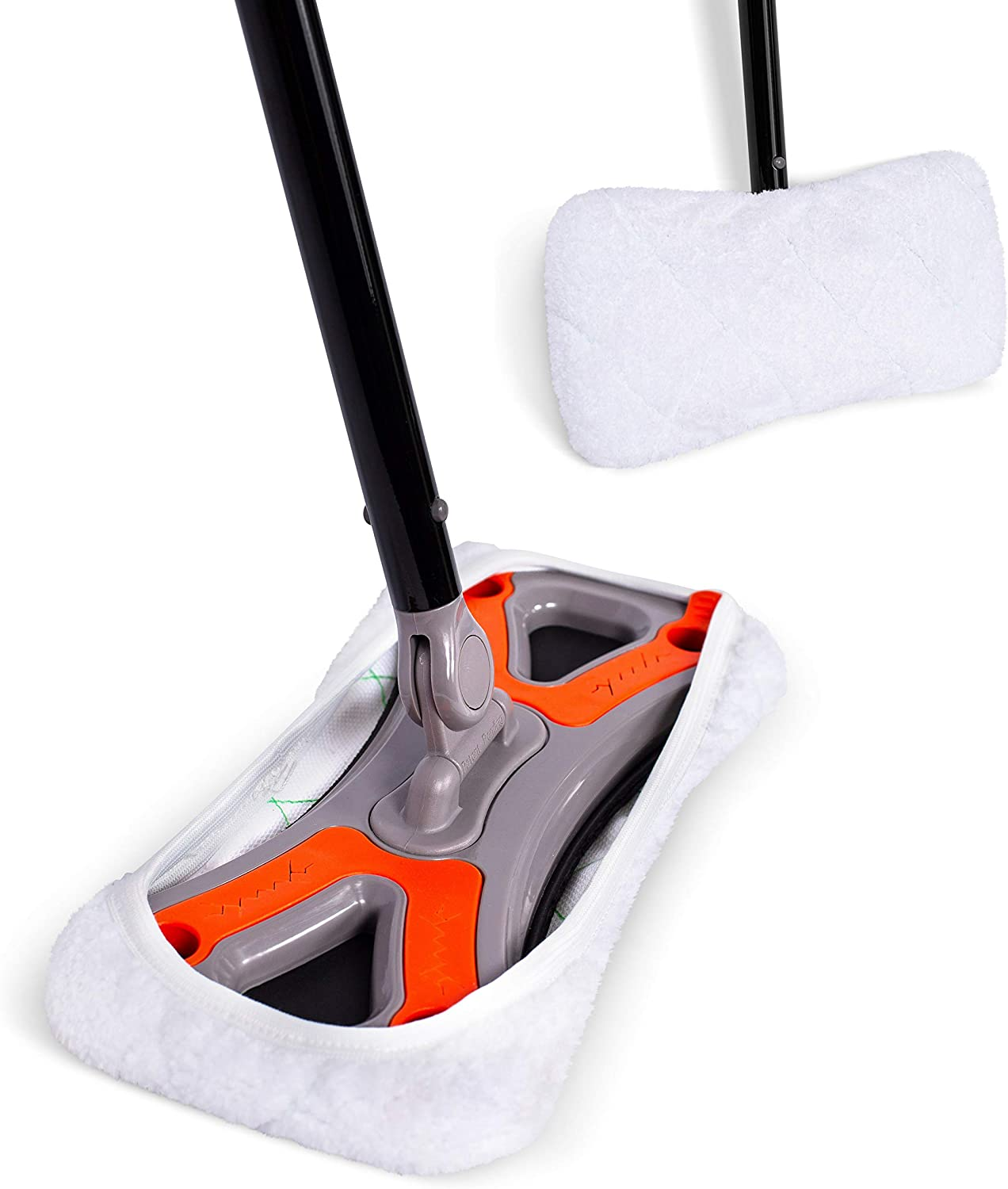 Dust Cleaning Sweeper Mopping - Orange and Grey Durable Mop Set - Lightweight - Great for Kitchen, Home, Garage and Office - Hardwood Tile Laminate Floor Cleaner - Removable Slipper
