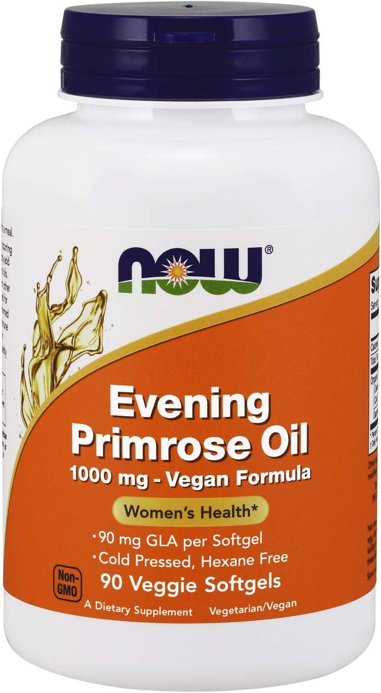 NOW Supplements, Evening Primrose Oil 1000 mg, Cold Pressed, Hexane Free, Vegan Formula, 90 Veg Softgels