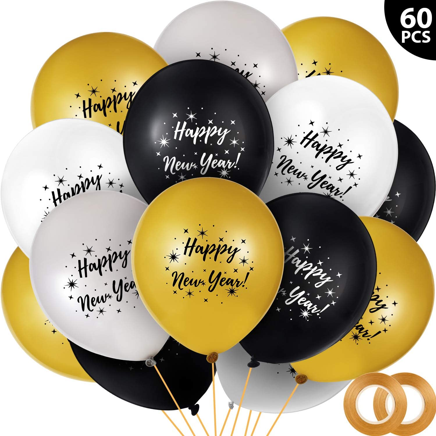 60 Pieces Happy New Year Balloons Colorful Latex Balloon 2020 New Year Balloon with 2 Roll Gold Ribbons for New Years Eve Party