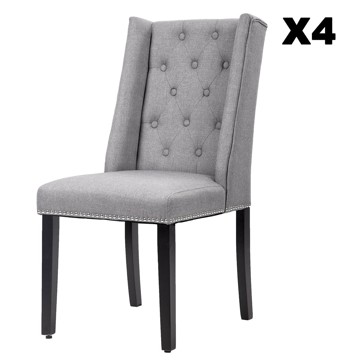 Elegant Dining Side Chairs Button Tufted Fabric w Nailhead Set of 4