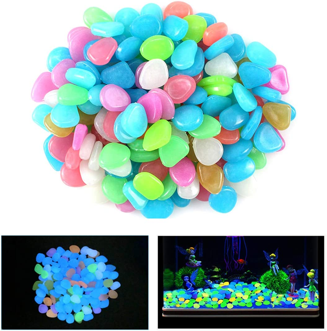 Qiao Niuniu 100 Pcs New Colorful Glow in The Dark Pebbles Stones Rocks for Fish Tank Aquarium Garden Walkway