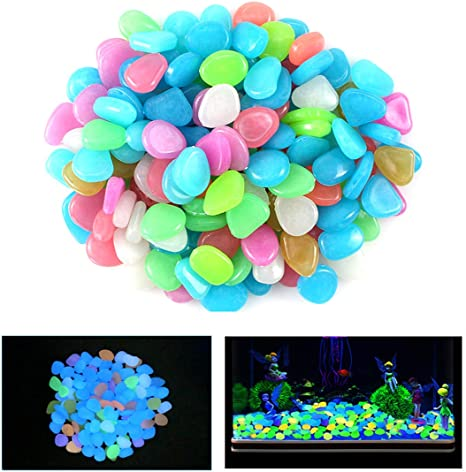 100PCS Luminous Pebbles Glow In Dark Stones Rocks Garden Walkways Aquatium # The