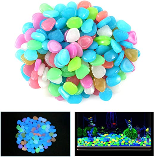 100-1000PCS Glow In The Dark Stones Pebbles Luminous Garden Fish Tank Aquarium