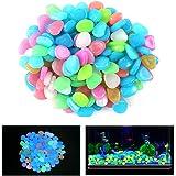 Qiao Niuniu 100 Pcs New Colorful Glow in The Dark Pebbles Stones Rocks for Fish Tank Aquarium Garden Walkway
