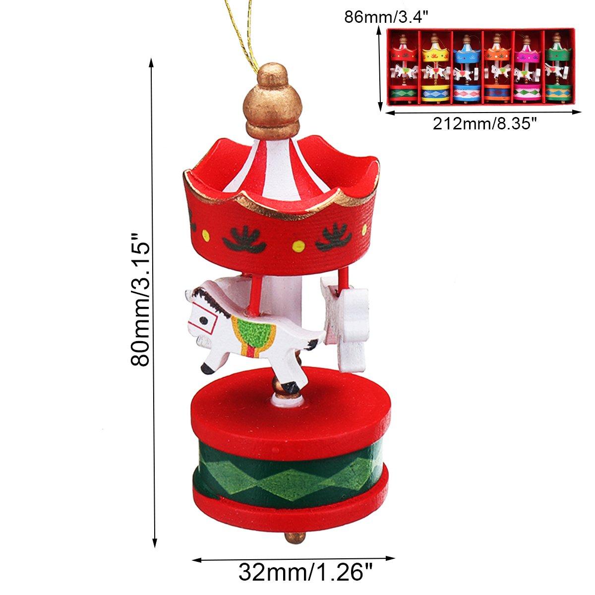Jeteven 6er Set Geburtstagfeier Anhänger Mini Karussell Pferd Holz Basteln Valentinstag Deko für Kinder Mädchen Holzanhänger Geburtstag Geschenk Rot