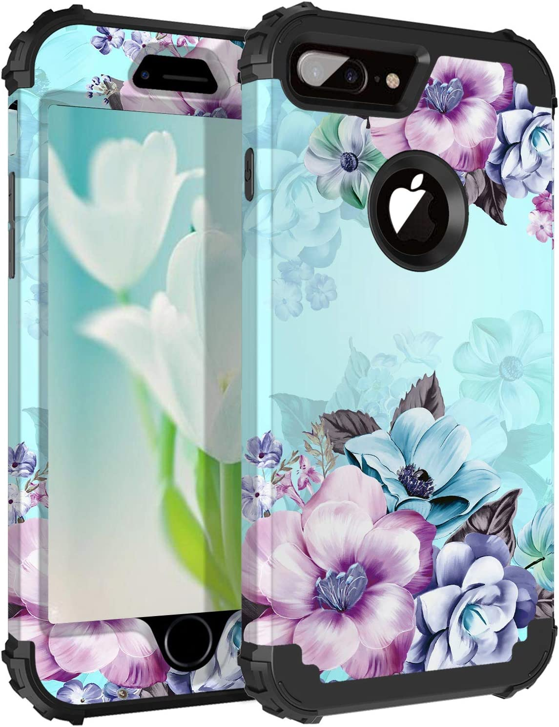 Casetego Compatible with iPhone 8 Plus Case,iPhone 7 Plus Case,Floral Three Layer Heavy Duty Hybrid Sturdy Shockproof Protective Cover Case for Apple iPhone 8 Plus/7 Plus,Blue Flower