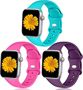 Easuny Sport Bands Compatible with Apple Watch 44mm 42mm Women Men - Soft Sport Silicone Wristbands Strap Replacement Accessories for iWatch Series 6/5/4/3/2/1,3 Pack of Teal/Rosy/Purple,S/M