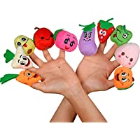Ultra Plush Soft Toy Fruit Vegetable Finger Puppets - Set of 10