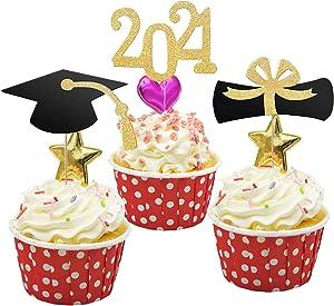 Antook 2021 Graduation Cupcake Toppers,Food Appetizer Picks For Graduation Party Mini Cake Decorations Diploma, 2021 Class Grad Cap Set Pack of 48