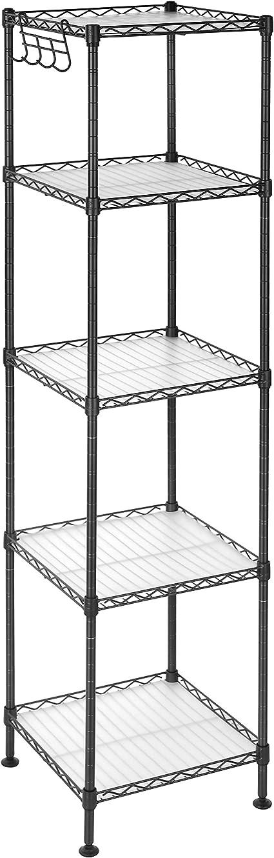 SONGMICS Estantería de Baño, Estantería de Metal, Carga Total de 100 kg, con 5 Hojas de PP, Ganchos Desmontables, 30 x 30 x 123,5 cm, Diseño ...