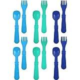 Re-Play Made In USA 12pk Utensils for Easy Baby, Toddler, Child Feeding - Sky Blue, Aqua, Navy Blue (True Blue)
