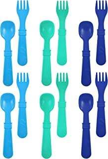 product image for RE-PLAY Made in The USA 12pk Fork and Spoon Utensil Set for Easy Baby, Toddler, and Child Feeding in Sky Blue, Aqua and Navy Blue | Made from Eco Friendly Heavyweight Recycled Milk Jugs | (True Blue)