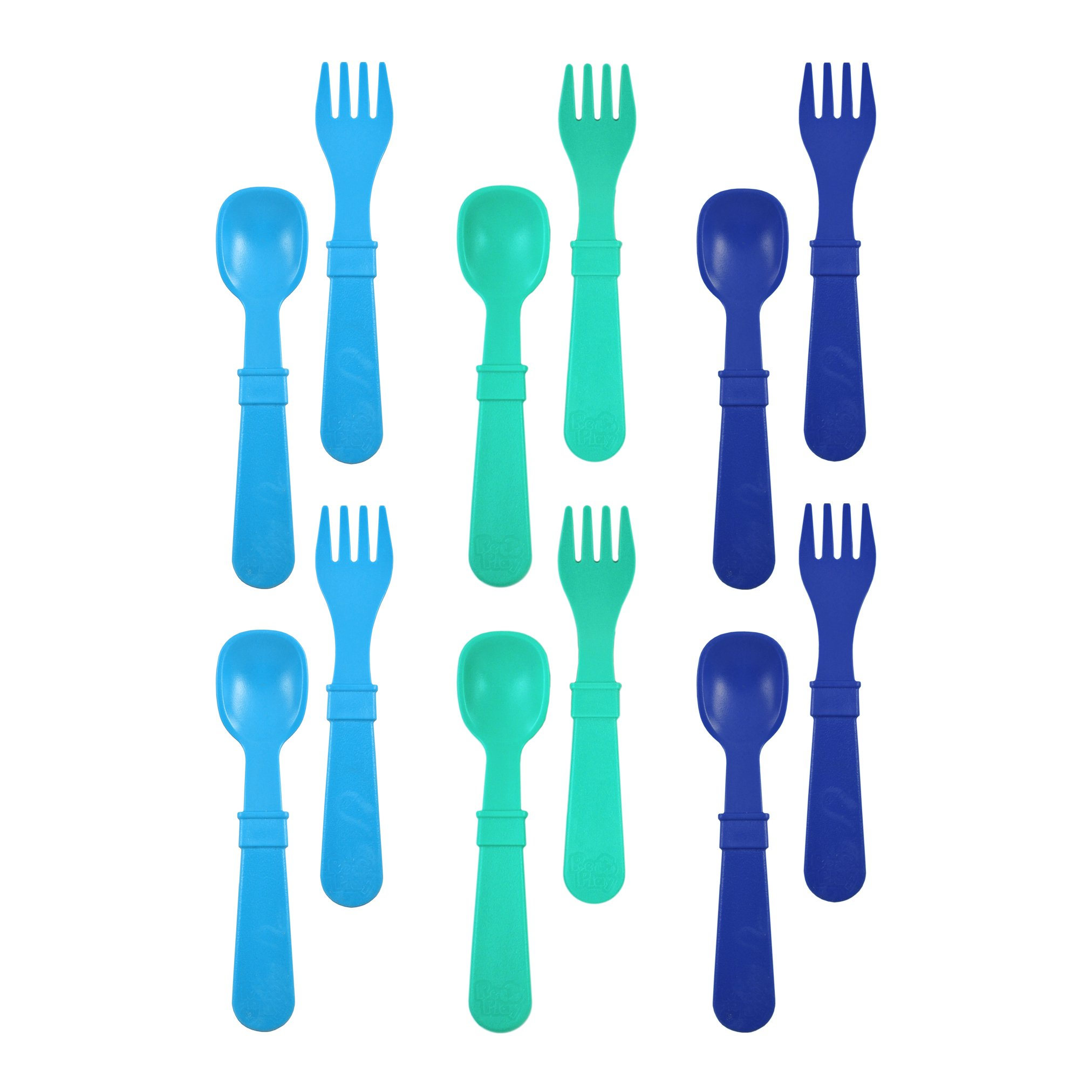 Re-Play Made in USA 12pk Toddler Feeding Utensils Spoon and Fork Set for Easy Baby, Toddler, Child Feeding - Sky Blue, Aqua, Navy Blue (True Blue) 6 Spoons/6 Forks
