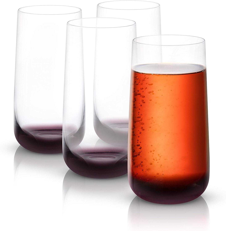 JoyJolt Black Swan Highball Glasses, Premium Crystal Glassware, 18.2 Oz Capacity, Set Of 4