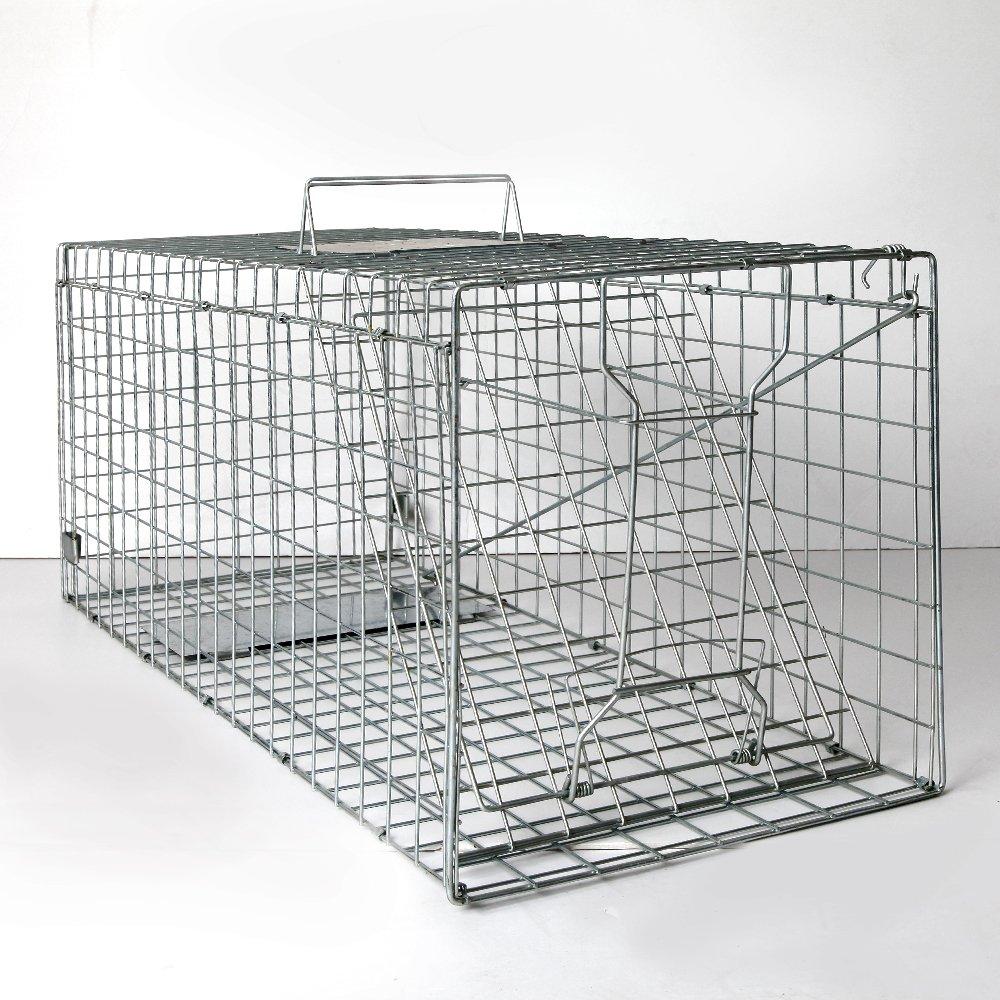 108 x 40 x 45cm Humane Animal Trap Cage Possum Fox Koala Rabbit Rat Bird Cat Live Catch- Silver
