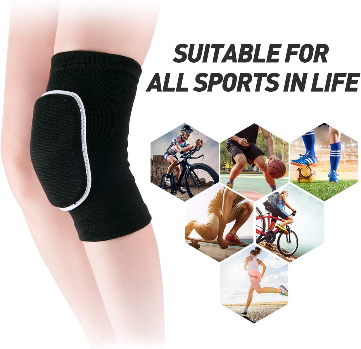 JMOKA Non-Slip Knee Brace Soft Knee Pads Breathable Knee Compression Sleeve for Dance Wrestling Volleyball Basketball Running Football Jogging Cycling Arthritis Relief Meniscus Tear for Women Men : Sports & Outdoors