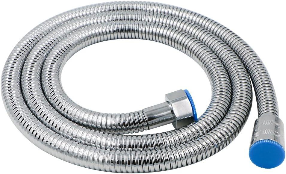 2M Argento Tubo Doccia Cromo Lucido antipiega e a prova di perdite Rusee Flessibile Doccia Anti Torsione Acciaio Inossidabile Intrecciato Tubo