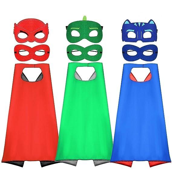 Tacobear PJ Masks Disfraz para niño 6 Piezas PJ Mascaras 3 Piezas Capas Superhéroes Disfraz Cosplay Fiesta cumpleaños: Amazon.es: Juguetes y juegos