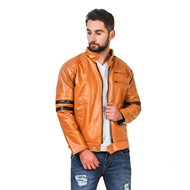 d87ff7ef9ae Mia Fashion Full Sleeve Solid Beige Leather Jacket for Men's/Boy's|Casual  Jacket