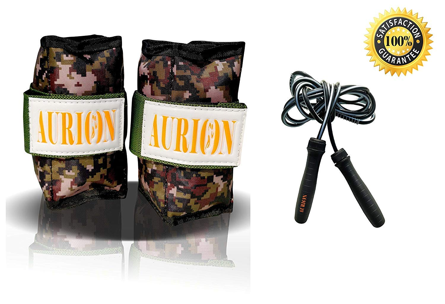 Aurion Wrist Ankle Weights Resistance Strength Training Exercise Bracelets Straps Gym with Skipping Rope
