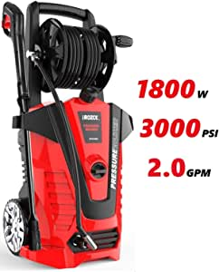 iRozce Pressure Washers, 3000PSI 2.0 GPM Max Electric Power Washer with On-Board Hose Reel, Metal Adapter, Adjustable Nozzle, Build-in Detergent Tank for Driveway, Cars Washing, Red