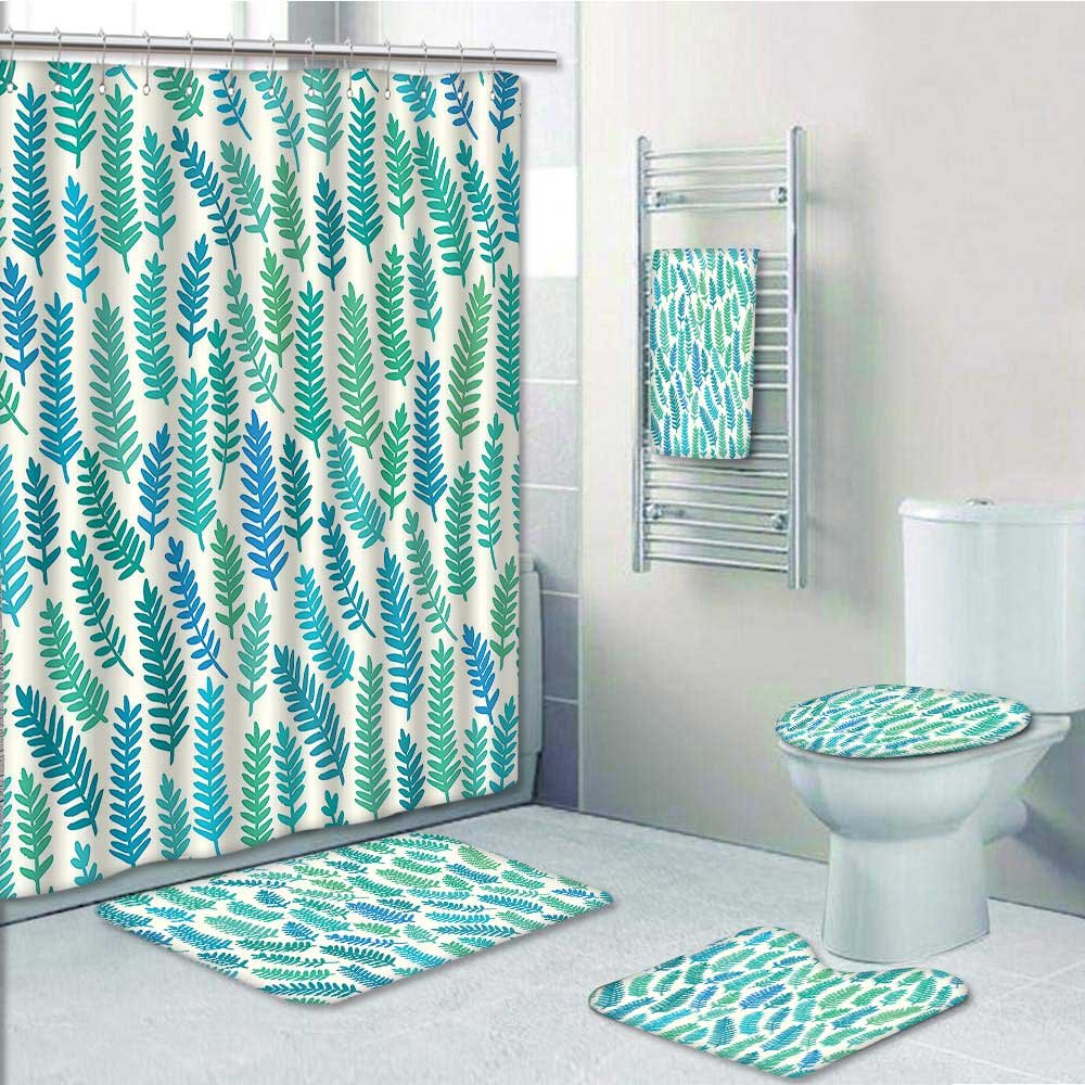 Amazon.com: 5-piece Bathroom Set-Includes Shower Curtain Liner,Teal ...