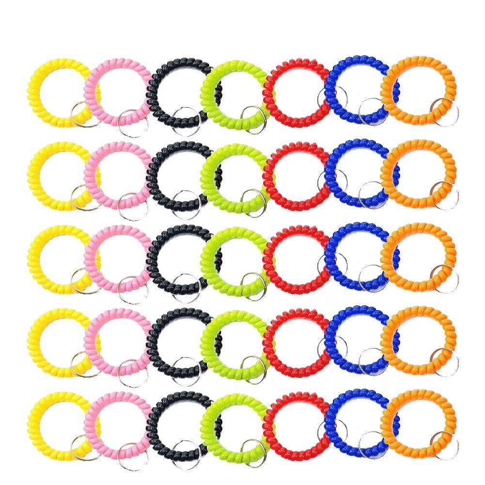 DAILIN 35個 伸縮性 プラスチック ブレスレット リストコイル リストバンド キーリング チェーンホルダータグ ジム プール IDバッジ用 7色ミックス   B07GNJ2PBL