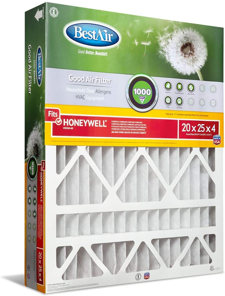 BestAir HW2025-8R AC Furnace Air Filter For Honeywell Models Fits 100/% MERV 8 Removes Allergens /& Contaminants Pack of 3 20 x 25 x 4