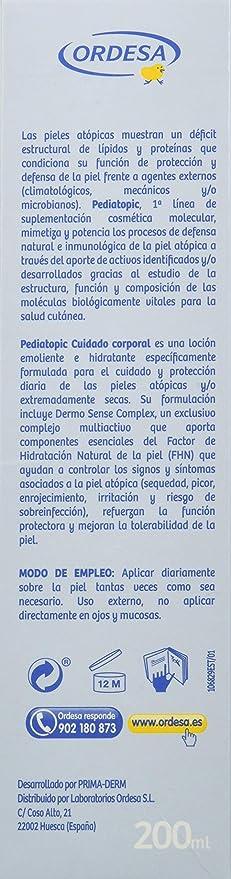 Pediatopic Cuidado Corporal 200ml, loción emoliente e hidratante específica para pieles atópicas y/o altamente secas.