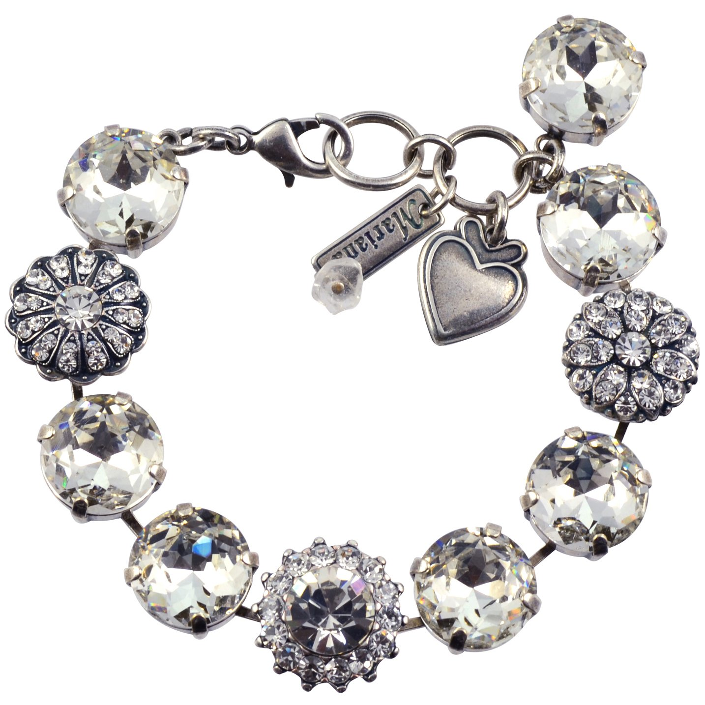 Mariana ''On A Clear Day'' Silver Plated Crystal Large Gem Tennis Bracelet with Heart, 8''