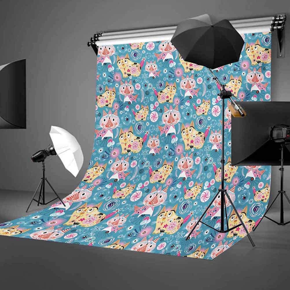 Cat 6.5x10 FT Photo Backdrops,Ornamental Figures on Cartoon Style Pet Kittens Abstract Swirls and Flowers Pattern Background for Baby Shower Bridal Wedding Studio Photography Pictures Multicolor