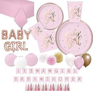 Serves 30 | Baby Girl Baby Shower Essentials | Rose Gold | 9