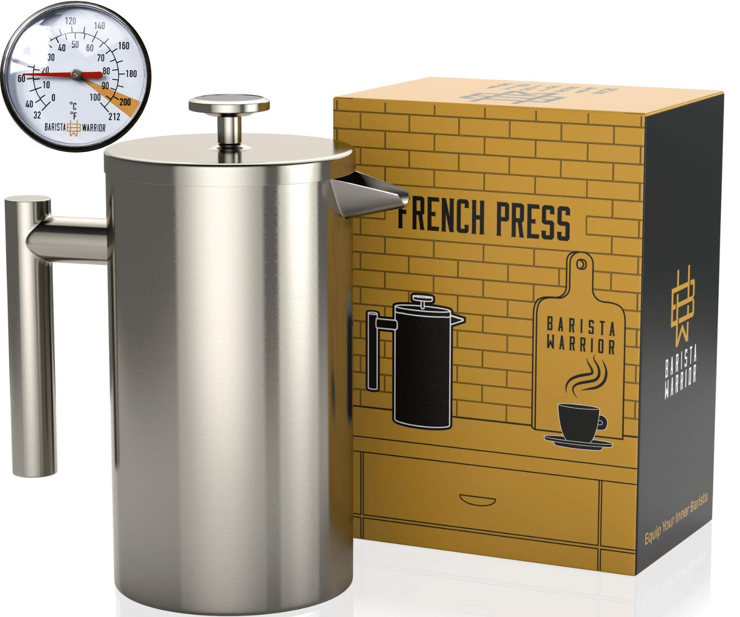 Stainless Steel French Press with Thermometer - Insulated French Press Coffee Maker - (1.0L | 34 fl oz | Silver)