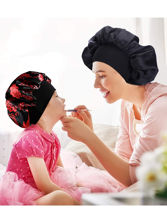 Black, Black Red Floral 2 Pieces Satin Bonnet Night Sleep Cap Sleeping Head Cover for Women Girls 2 Types