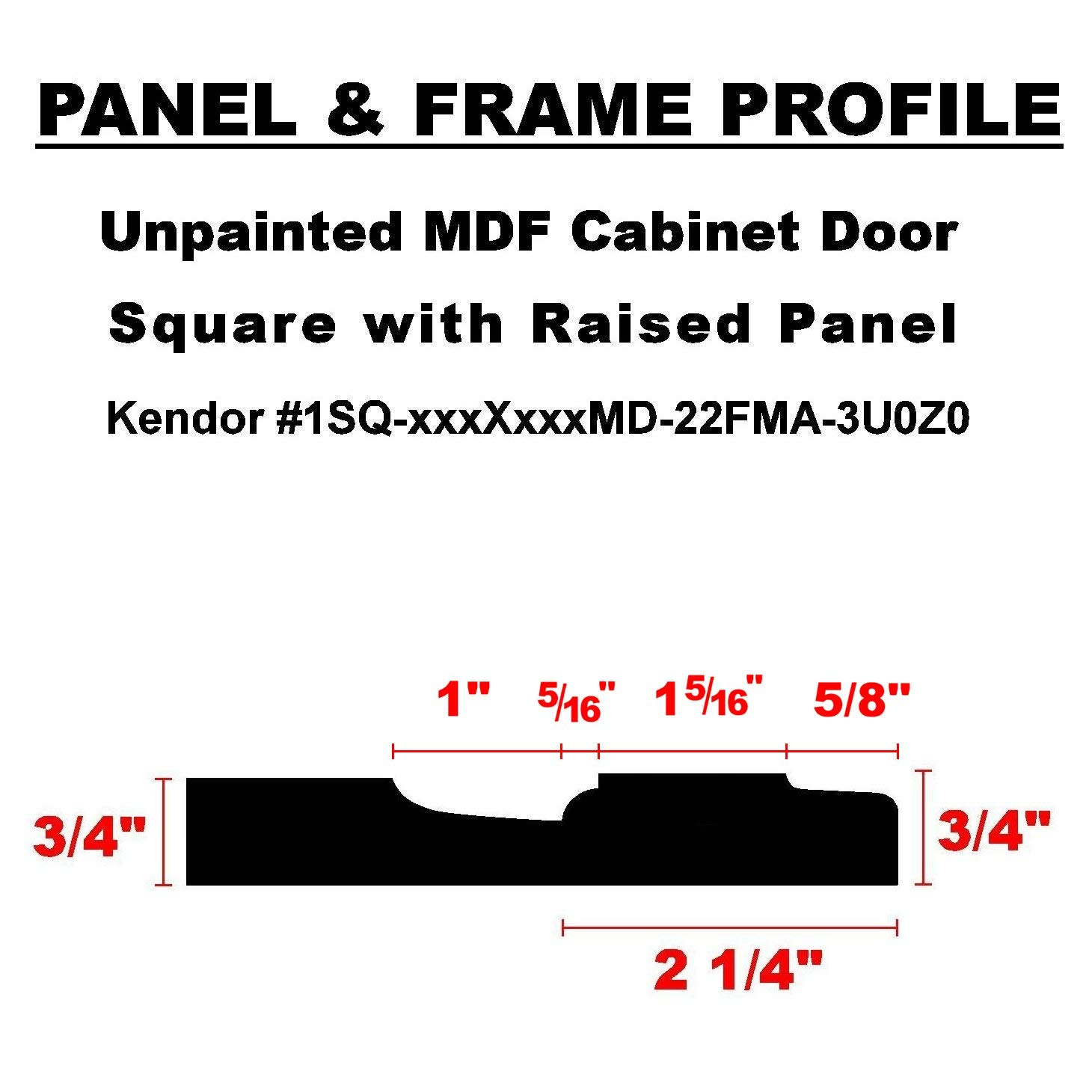 16H x 16W Kendor Unfinished MDF Cabinet Door Square with Raised Panel