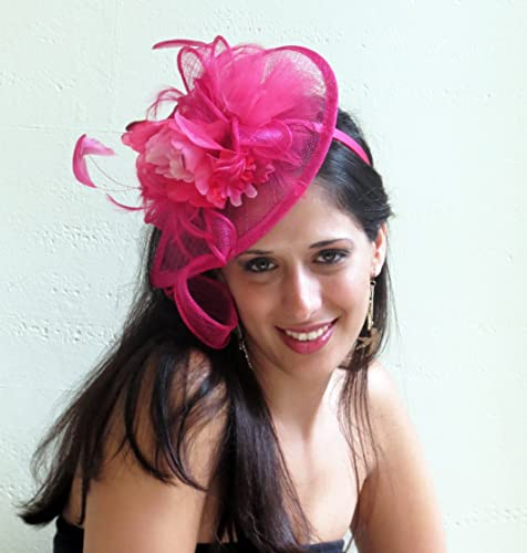 Amazon.com  Hot pink fascinator hat fuchsia wedding hat derby party  fascinator THE BEST  Handmade 461dec5c12e
