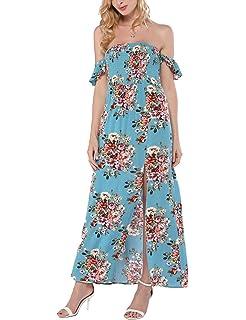 c75962856067 Azalosie Women Off Shoulder Maxi Dress Maternity Floral Short Sleeve Empire  Waist Slit Dress Summer Party