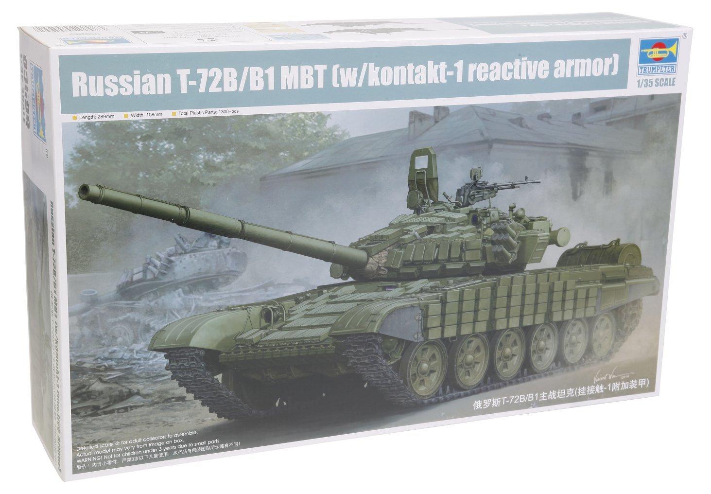 Trumpeter Russian T-72B/B1 MBT with Kontakt-1 Model Kit (1:35 Scale)
