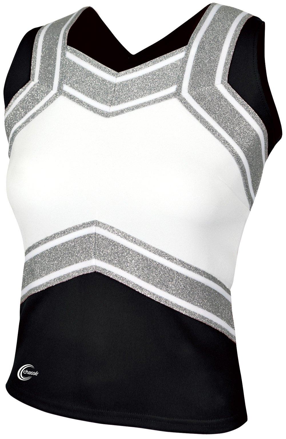 Chassé Girls' Blaze Shell Top Black/White/Metallic Silver Youth X-Small