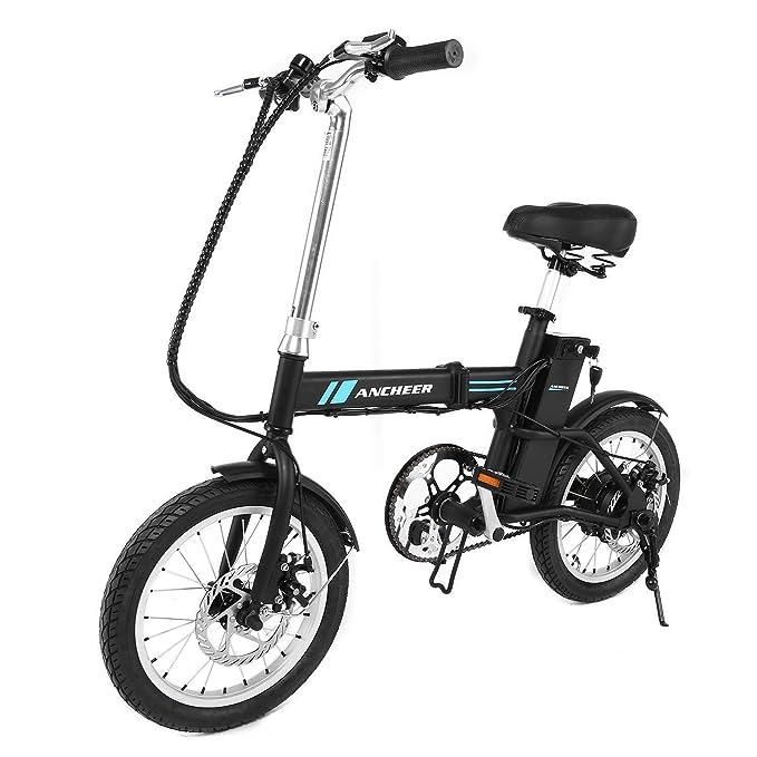 aceshin Bicicleta Eléctrica Plegable de Montaña Con Rueda 16 Pulgadas, Batería de Litio de 36V