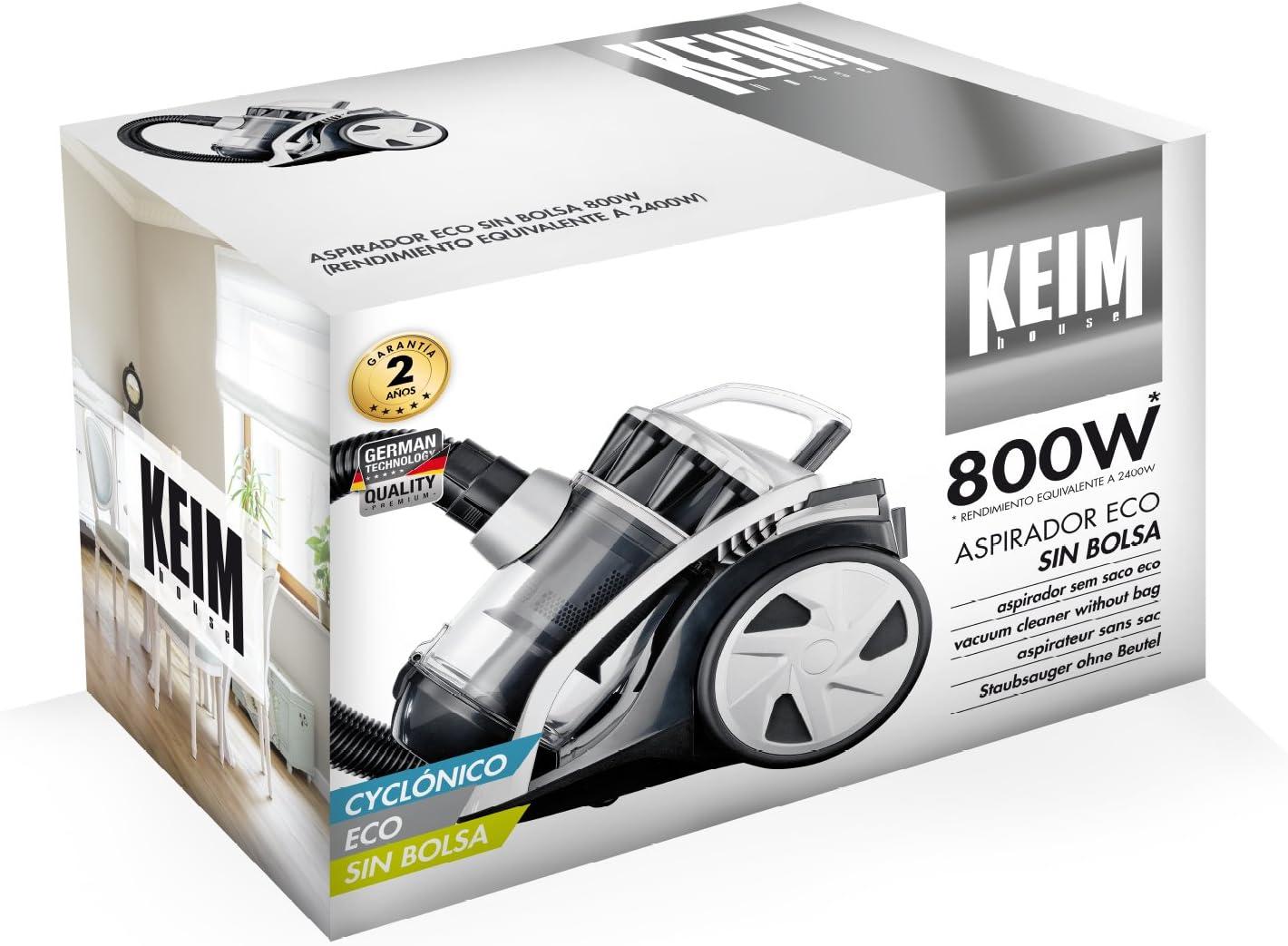 Keim House 33663 Aspirador ECO sin bolsa, 800 W, 2 litros, Blanco y negro: Amazon.es: Hogar
