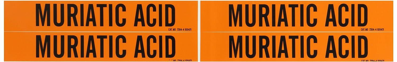 1 1//8 Height X 7 Width B-946 Brady 7394-4 Self-Sticking Vinyl Pipe Marker Legend Muriatic Acid 1 1//8 Height X 7 Width Legend Muriatic Acid Black On Orange Pressure Sensitive Vinyl